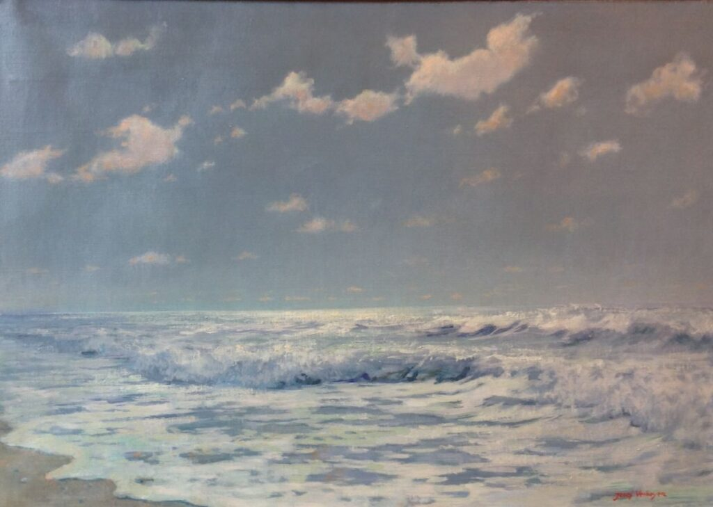 schilderijen te koop van kunstschilder, Jozef Verheuge Zeegezicht olie op doek, doekmaat 50 x 70 cm rechtsonder gesigneerd, expositie, galerie wijdemeren breukeleveen