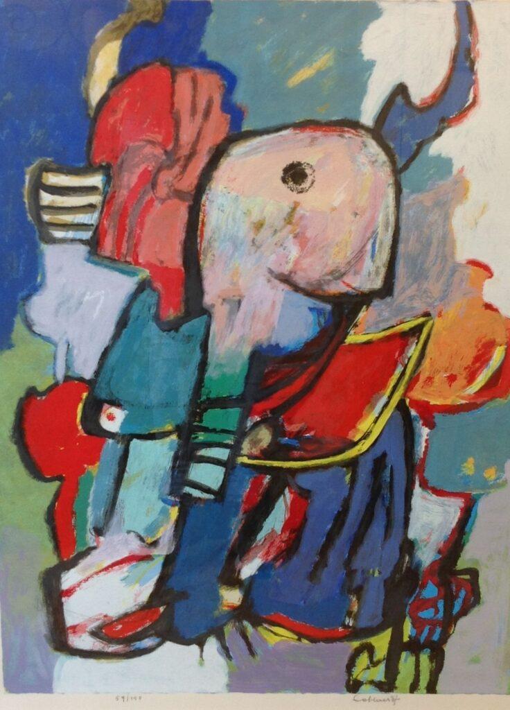 Schilderijen te koop van kunstschilderAbstract, Litho, 54/150 Beeldmaat: 77 cm x 59,3 cm Rechtsonder gesigneerd, Expositie Galerie Wijdemeren Breukeleveen