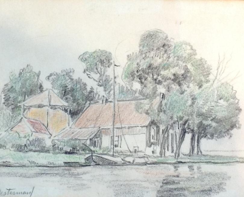 Kunstenaar Johannes Albertus Hesterman jr. C1906T, J.A.Hesterman boerderij aan het water tekening linksonder gesigneerd