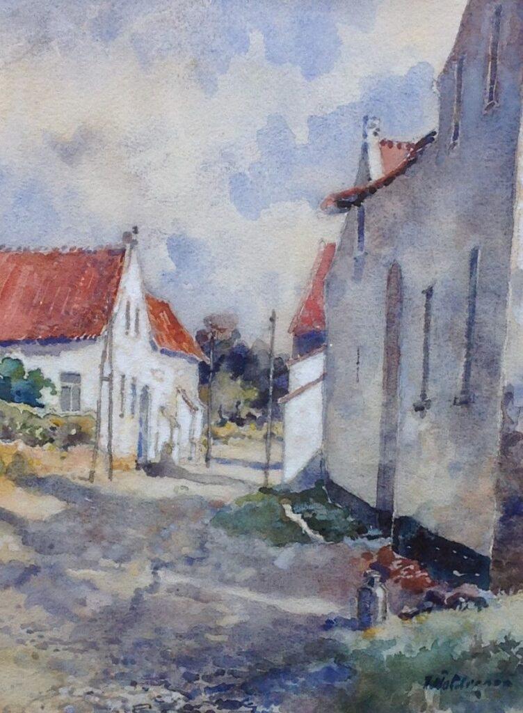 Kunstenaar Hugo Polderman C192-3, Hugo Polderman Straatje aquarel, r.o. gesigneerd