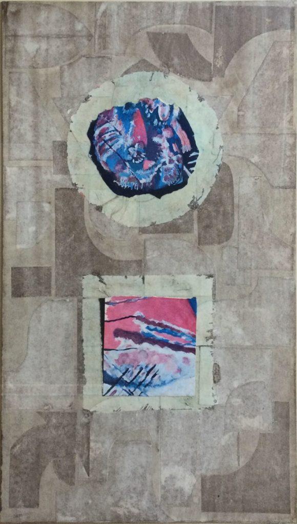 Kunst te koop bij Galerie Wijdemeren van kunstenaar Jozef Bossaert Hommage a Kandinsky gemengde techniek, 70 x 40 cm rechtsonder handgesigneerd en gedateerd 75