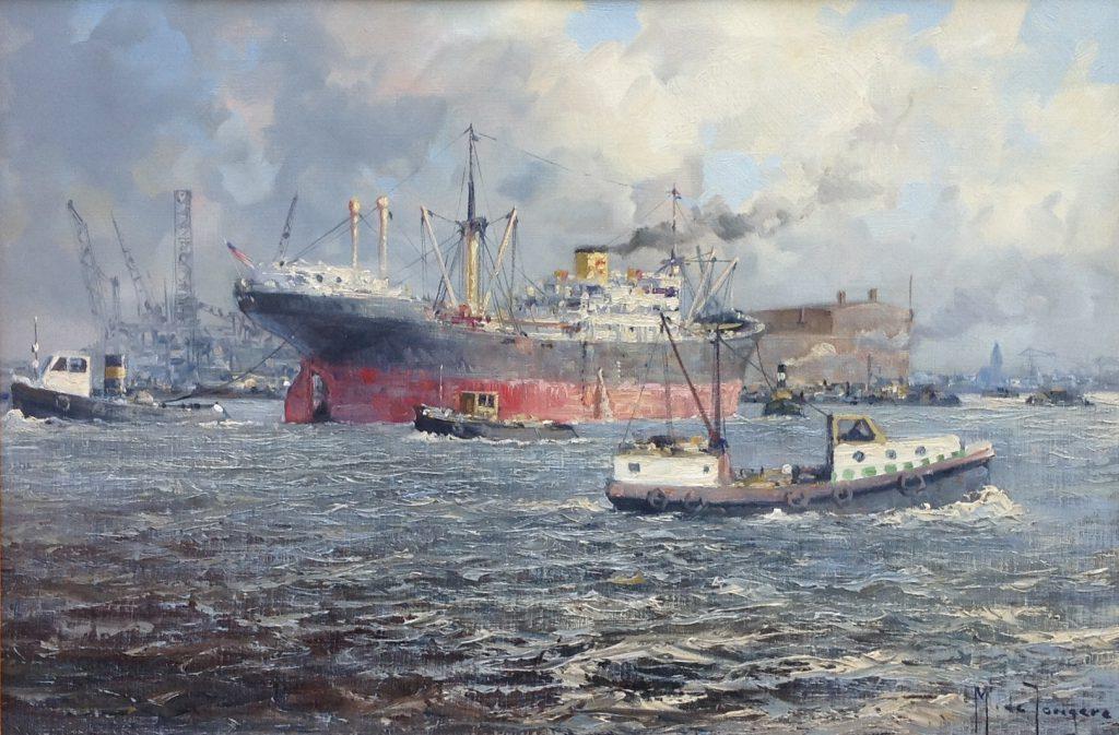 schilderijen te koop van kunstschilder, Marius de Jongere Haven Rotterdam olie op doek, doekmaat 40 x 60 cm rechtsonder gesigneerd, expositie, galerie wijdemeren breukeleveen