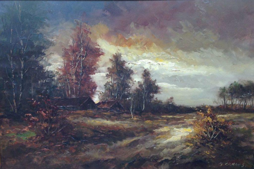 Kunst te koop bij Galerie Wijdemeren van kunstschilder Gerard Ernens Bosrand olie op doek, 60 x 90 cm rechtsonder gesigneerd