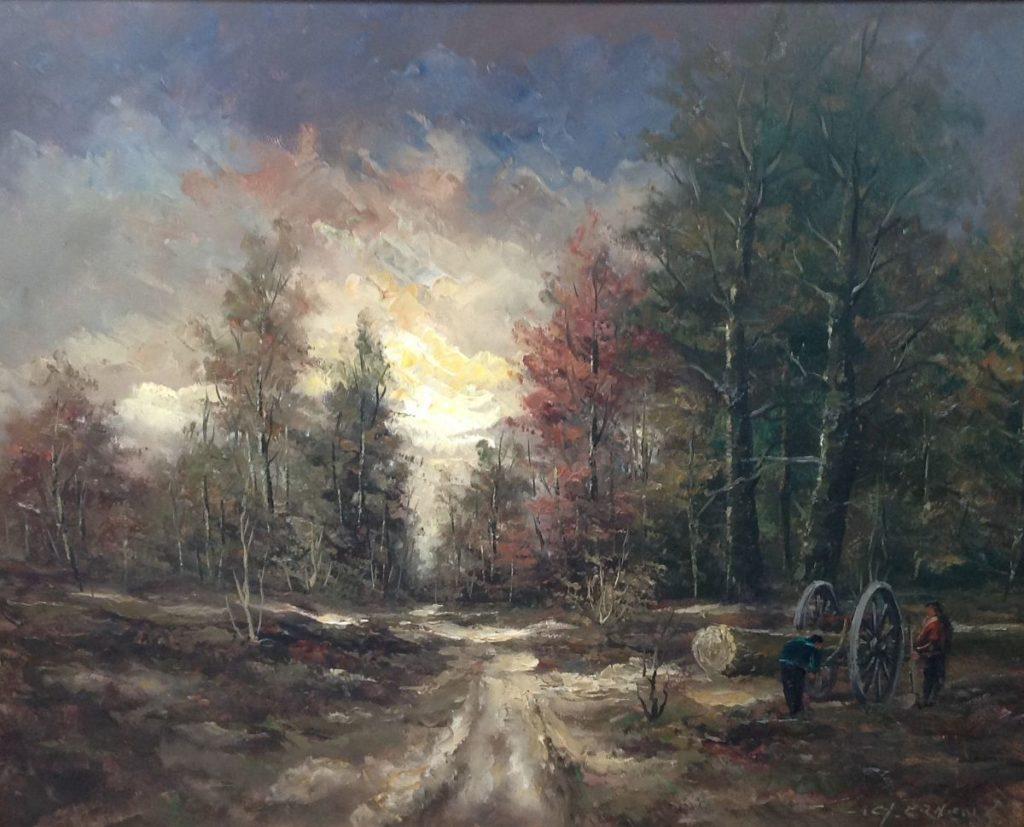schilderijen te koop van kunstschilder, Gerard Ernens Bosgezicht olie op doek, gesigneerd, expositie, galerie wijdemeren breukeleveen
