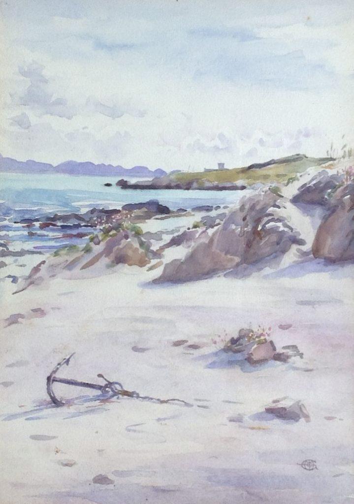 Kunst te koop bij Galerie Wijdemeren, Strandgezicht aquarel, 35 x 24.5 cm rechtsonder monogram