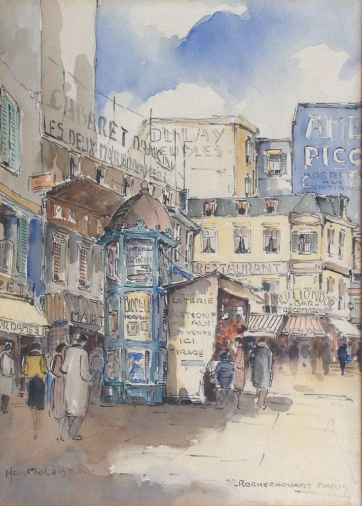 Kunst te koop bij Galerie Wijdemeren van kunstschilder Han Molenaar Parijs aquarel op papier, 37 x 26 cm linksonder gesigneerd