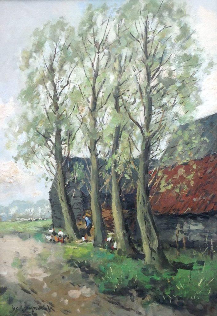 Kunst te koop bij Galerie Wijdemeren, H.C. Kranenburg Bomenrij langs de boerderij olie op doek, 70.5 x 50.5 linksonder gesigneerd
