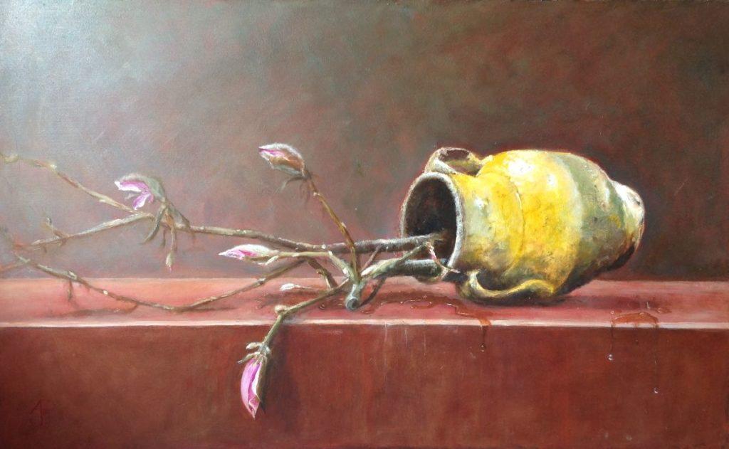 Schilderijen te koop van kunstschilderArnold Pieterse omgevallen vaas met Magnolia takken olie op board, 44,5 x 72 cm linksonder gemonogrammeerd, Expositie Galerie Wijdemeren Breukeleveen