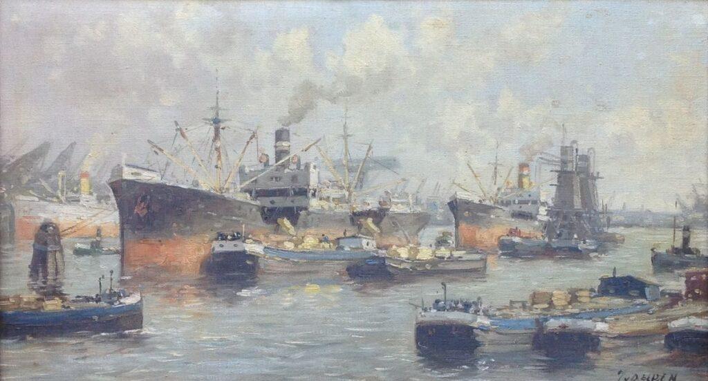 Schilderijen te koop van kunstschilder J. van Delden Maashaven Rotterdam olie op doek, doekmaat 25 x 45,5 cm r.o. gesigneerd, Expositie Galerie Wijdemeren Breukeleveen