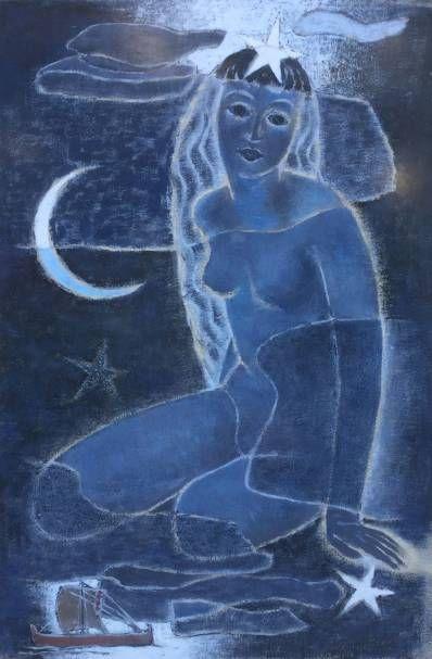 Kunstenaar  Naakt in de nacht,  Gemengde techniek op papier, 45 x 30 cm, gesigneerd r.o. en gedateerd 1953