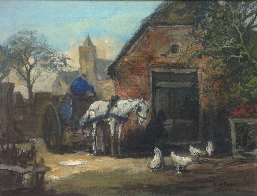 schilderijen te koop van kunstschilder, Cornelis de Bruin Boerenkar met paard en kippen op boerenerf olie op doek, doekmaat 40 x 60 cm rechtsonder gesigneerd, expositie, galerie wijdemeren breukeleveen