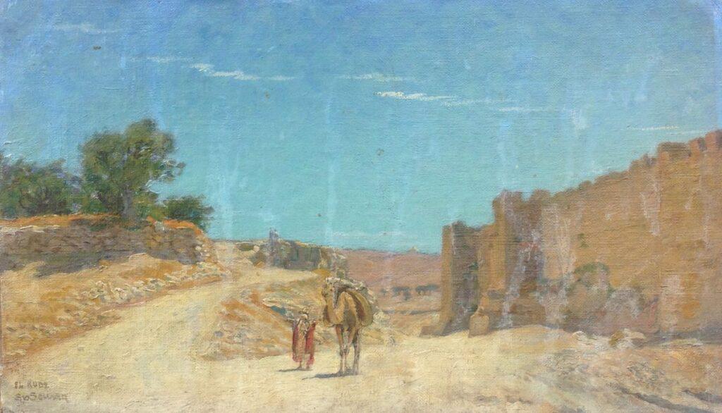Schilderijen te koop, kunstschilder Sipke van der Schaar Oosters tafereel met Arabier en kameel Marouflé, beeldmaat: 28.5 x 49 cm Linksonder gesigneerd, expositie Galerie Wijdemeren Breukeleveen