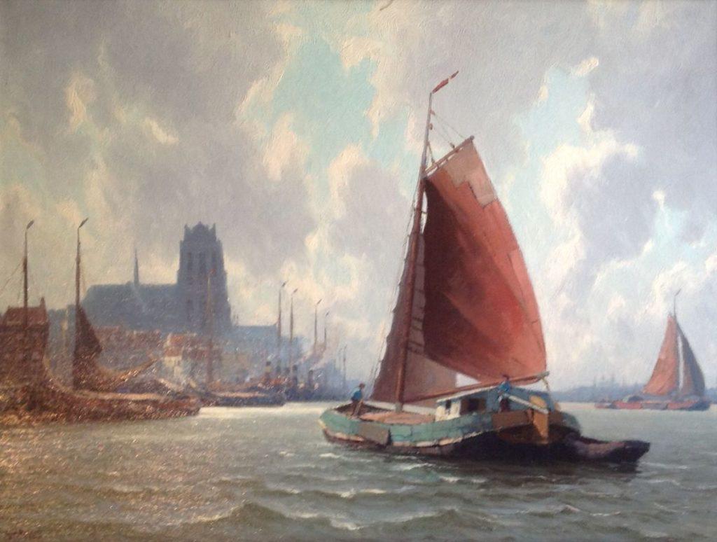schilderijen te koop van kunstschilder, Henk Dekker Dordtse Kil Olie op doek, doekmaat 60 x 80 cm linksonder gesigneerd, expositie, galerie wijdemeren breukeleveen