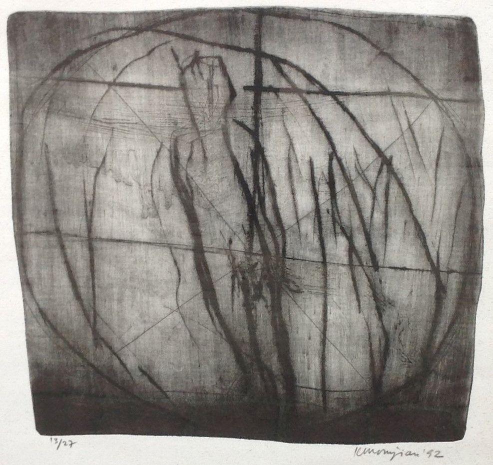 Kunst te koop bij Galerie Wijdemeren van kunstschilder Krikor Momdjian Abstracte voorstelling ets, 31 x 29.5 cm, oplage 13/27 rechtsonder gesigneerd en gedateerd 92