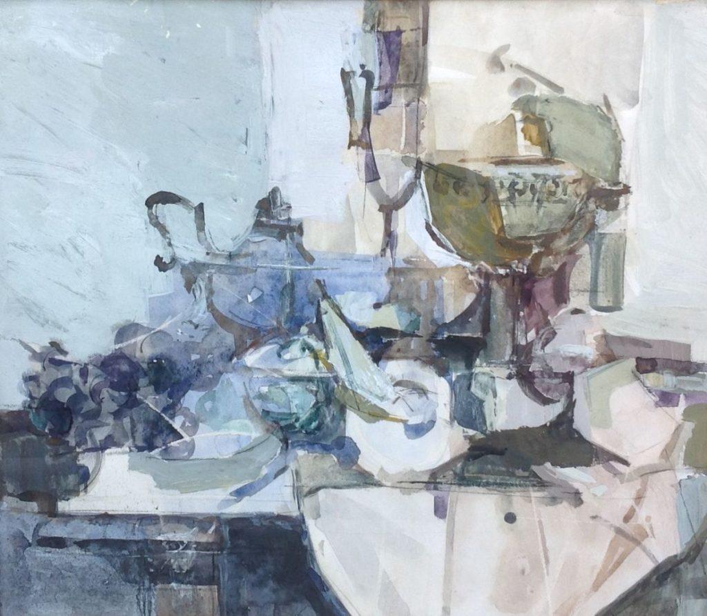 Schilderijen te koop van kunstschilder Wim van Aken stilleven met aangeklede tafel op papier, gemengde techniek gesigneerd, Expositie Galerie Wijdemeren Breukeleveen
