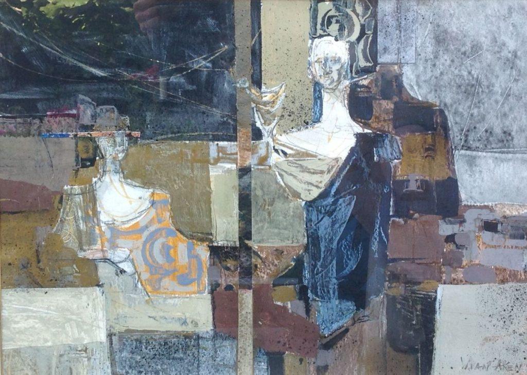 Schilderijen te koop van kunstschilder Wim van Aken Genrestuk met borstbeeld op papier, gemengde techniek gesigneerd, Expositie Galerie Wijdemeren Breukeleveen