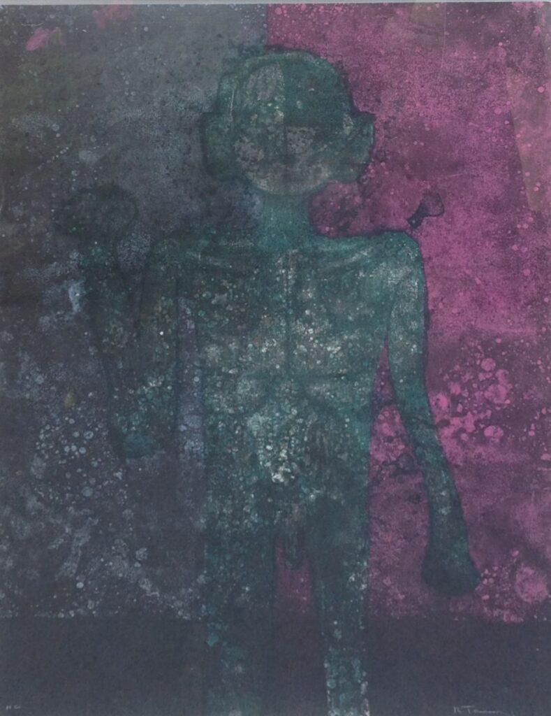 Schilderijen te koop van kunstschilder Rufino Tamayo Hombre en Verde 1976 litho, beeldmaat 57 x 76 cm rechstonder gesigneerd, Expositie Galerie Wijdemeren Breukeleveen