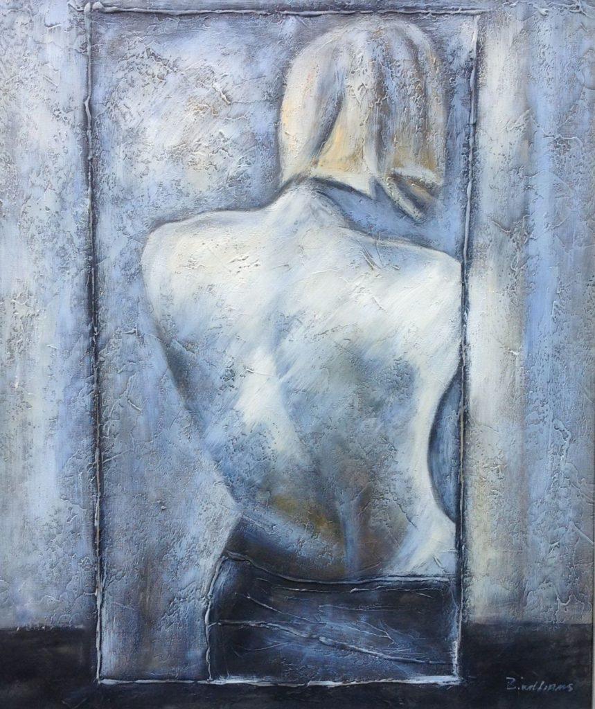 Kunst te koop bij Galerie Wijdemeren van kunstschilder B. Williams Vrouwentorso in spiegelbeeld olie op doek, 60 x 50 cm rechtsonder gesigneerd