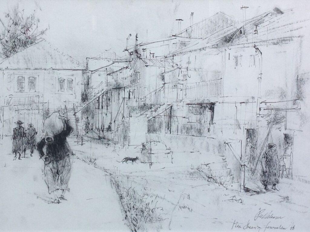 Kunstenaar Piet Klaasse C2174, Piet Klaasse Tekening, Jeruzalem, 1986