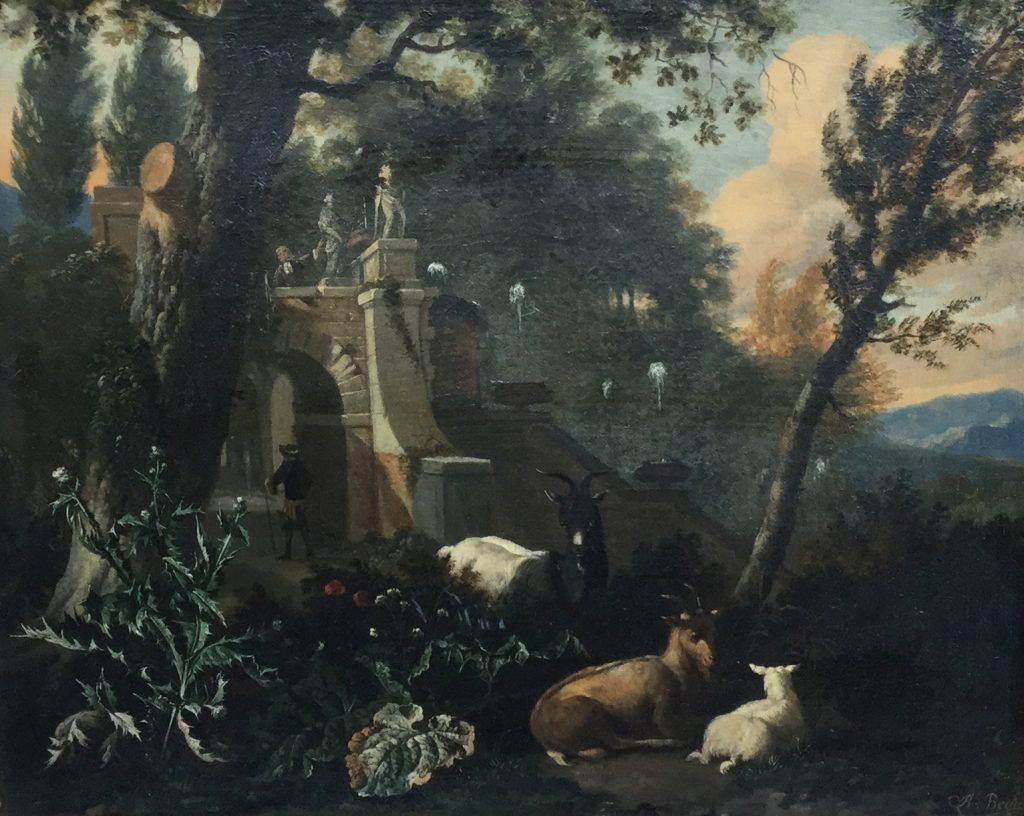 Kunstenaar Abraham Begeyn C2187, Abraham Begeyn Italianiserend landschap met geiten Olie op doek, 39 x 49 cm r.o. gesigneerd