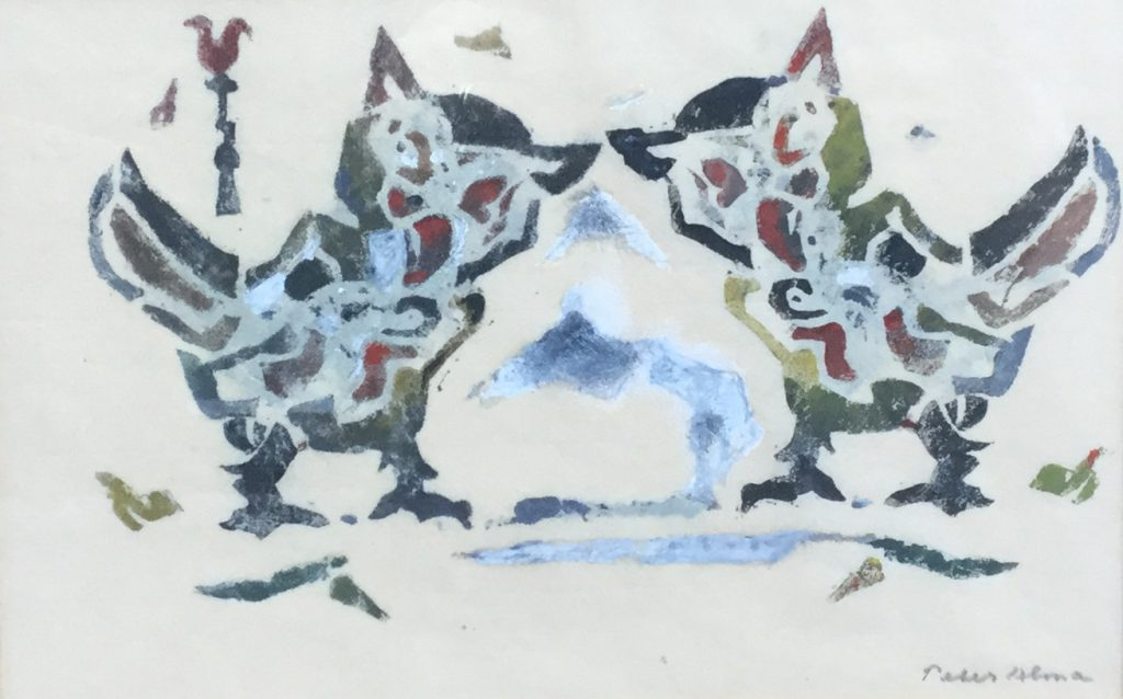Kunstenaar Peter Alma C2219 Peter Alma Uiltjes Gemengde techniek op papier, beeldmaat 17 x 26 cm rechtsonder gesigneerd gereserveerd