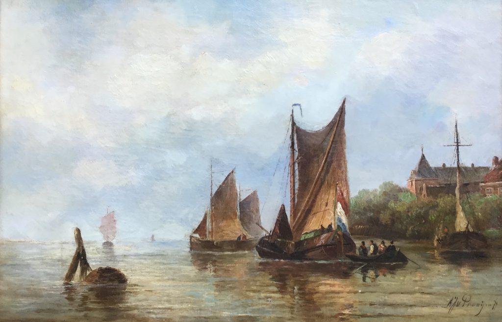 Kunstenaar A.J. van Prooijen C2221, A.J. van Prooijen Schepen aan de kust olie op doek, 32 x 49 cm, r.o. gesigneerd verkocht