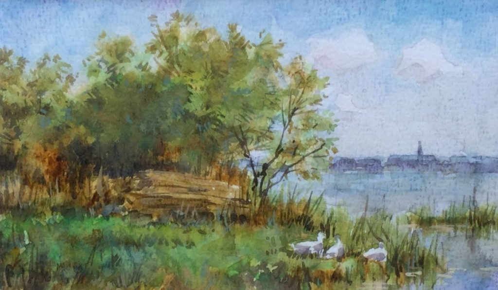 Schilderijen te koop, kunstschilder F.J. Goosen Landschap met dorpsgezicht in de verte aquarel, Beeldmaat 11,5 x 19 cm linksonder gesigneerd, expositie Galerie Wijdemeren Breukeleveen