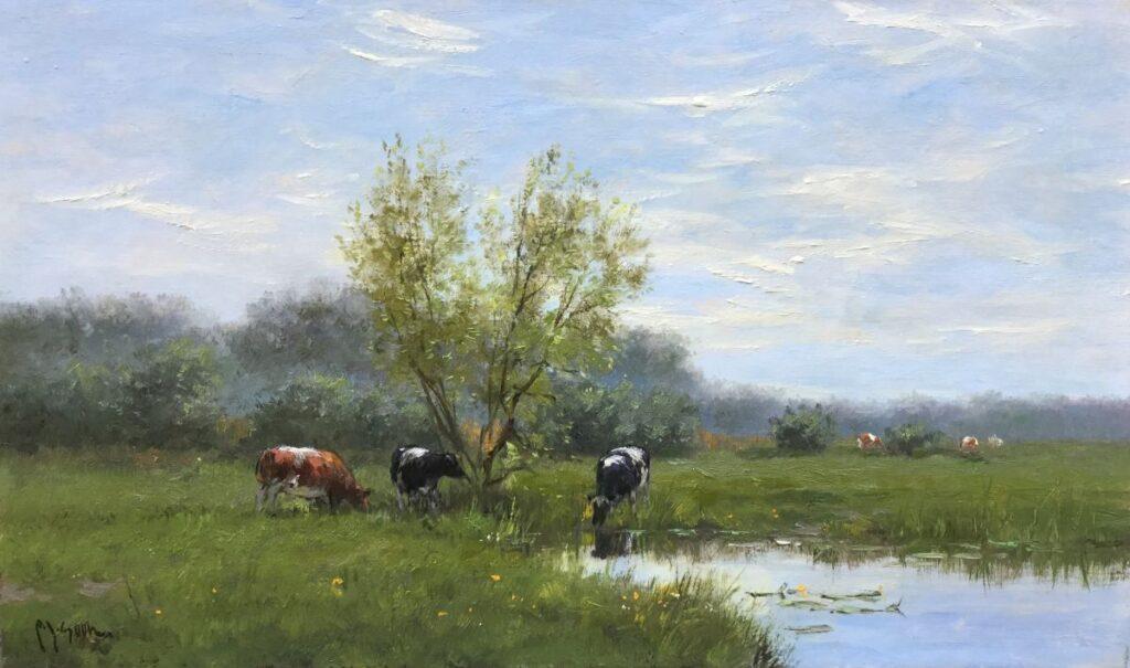 Schilderijen te koop, kunstschilder FJ Goosen, Koeien aan de waterkant olieverf op doek, 30 x 50 cm linksonder gesigneerd, expositie Galerie Wijdemeren Breukeleveen