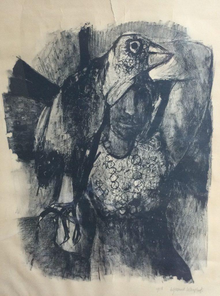 Kunst te koop bij Galerie Wijdemeren van kunstschilder Wijnand Wansink Figuur met vogel litho, 50 x 39 cm rechtsonder handgesigneerd, gedateerd 1958