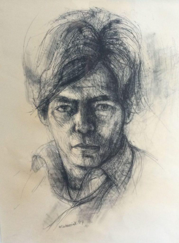 Kunst te koop bij Galerie Wijdemeren van kunstschilder Wijnand Wansink Portret krijttekening, 66 x 51 cm middenonder handgesigneerd en gedateerd 87
