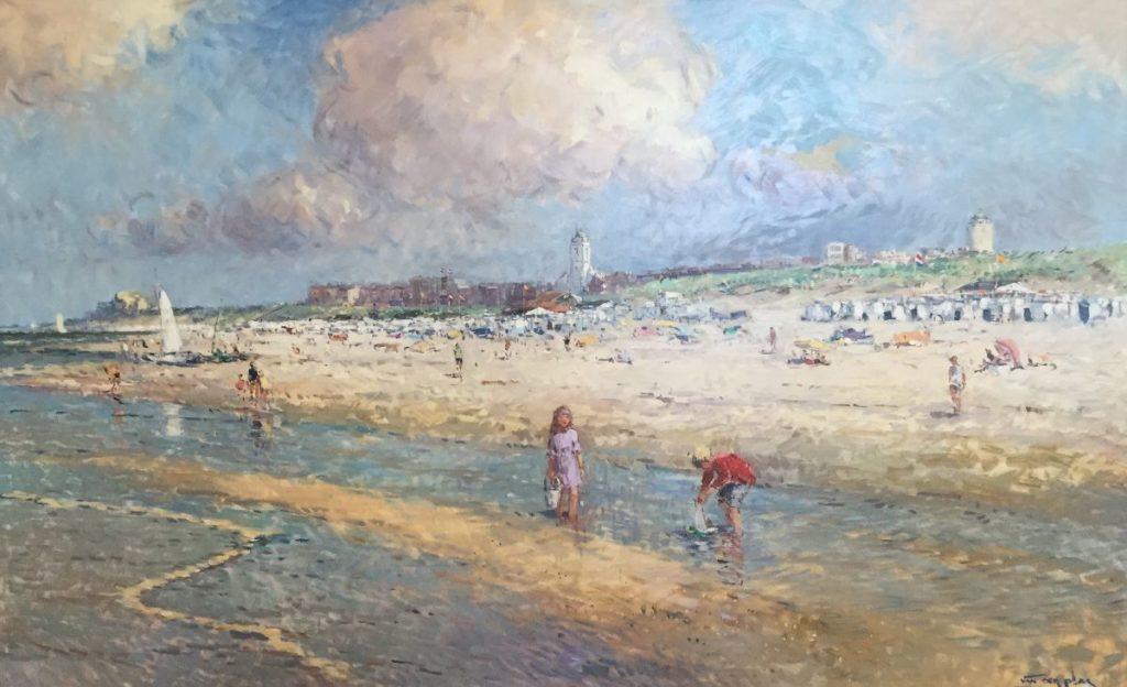 Schilderijen te koop van kunstschilder Niek van der Plas Strandgezicht olie op paneel 75 x 120 cm rechtsonder gesigneerd, Expositie Galerie Wijdemeren Breukeleveen