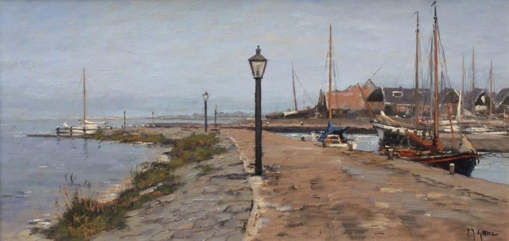 Schilderijen te koop van kunstschilder Frits J. Goosen Haven van Marken olie op doek, doekmaat 32,5 x 60 cm r.o. gesigneerd, Expositie Galerie Wijdemeren Breukeleveen