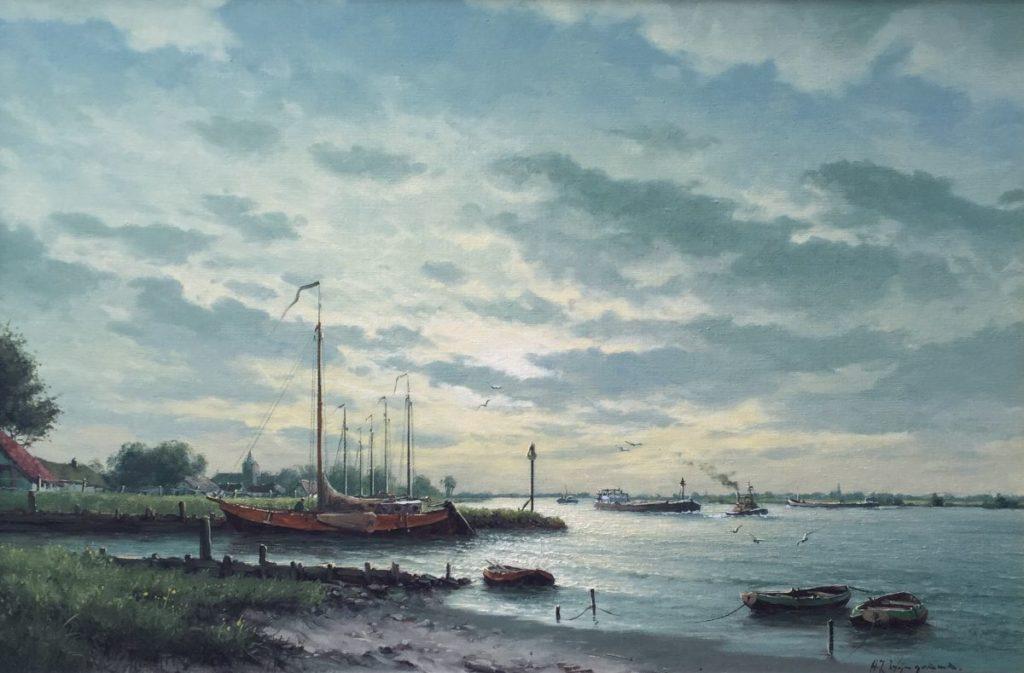 Schilderijen te koop van kunstschilder HJ Wijngaard schepen in een riviermonding olie op doek, 60 x 90 cm, Expositie Galerie Wijdemeren Breukeleveen