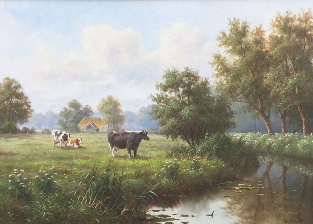 Kunstenaar Ron Meilof C2262 Ron Meilof landschap met koeien r.o. gesigneerd verkocht