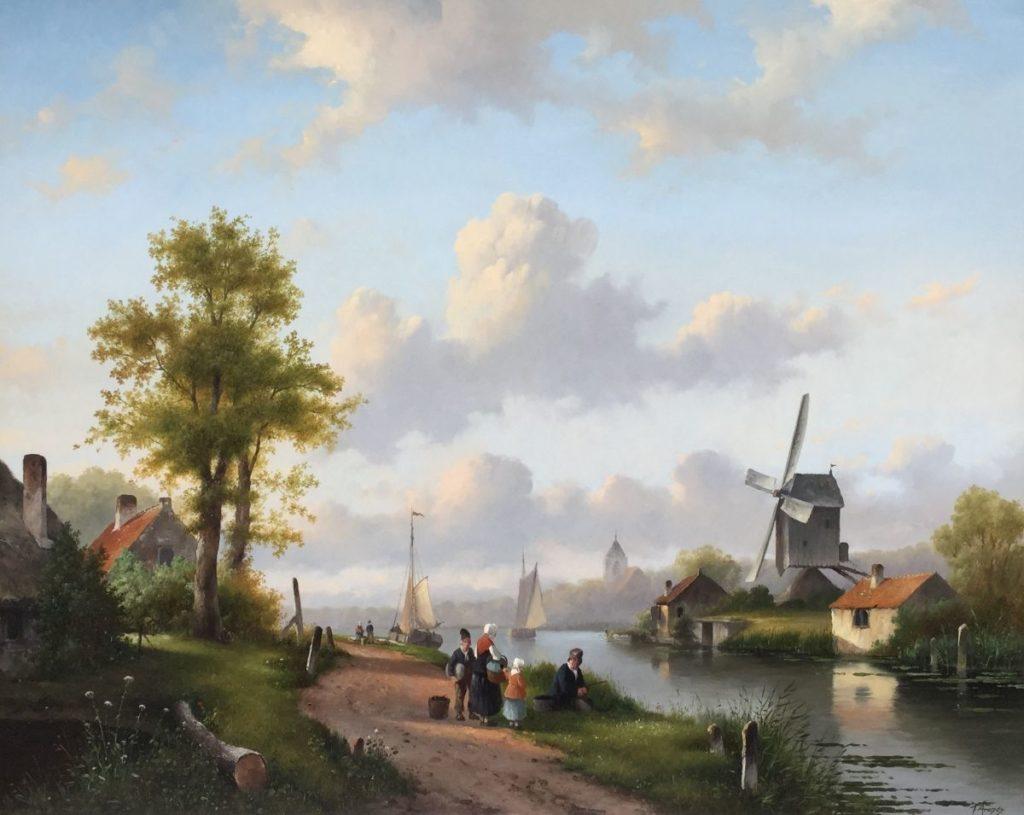 schilderijen te koop van kunstschilder, Fred Arends The Calm River, zomerlandschap olie op paneel, paneelmaat 80 x 100 cm rechtsonder gesigneerd , expositie, galerie wijdemeren breukeleveen