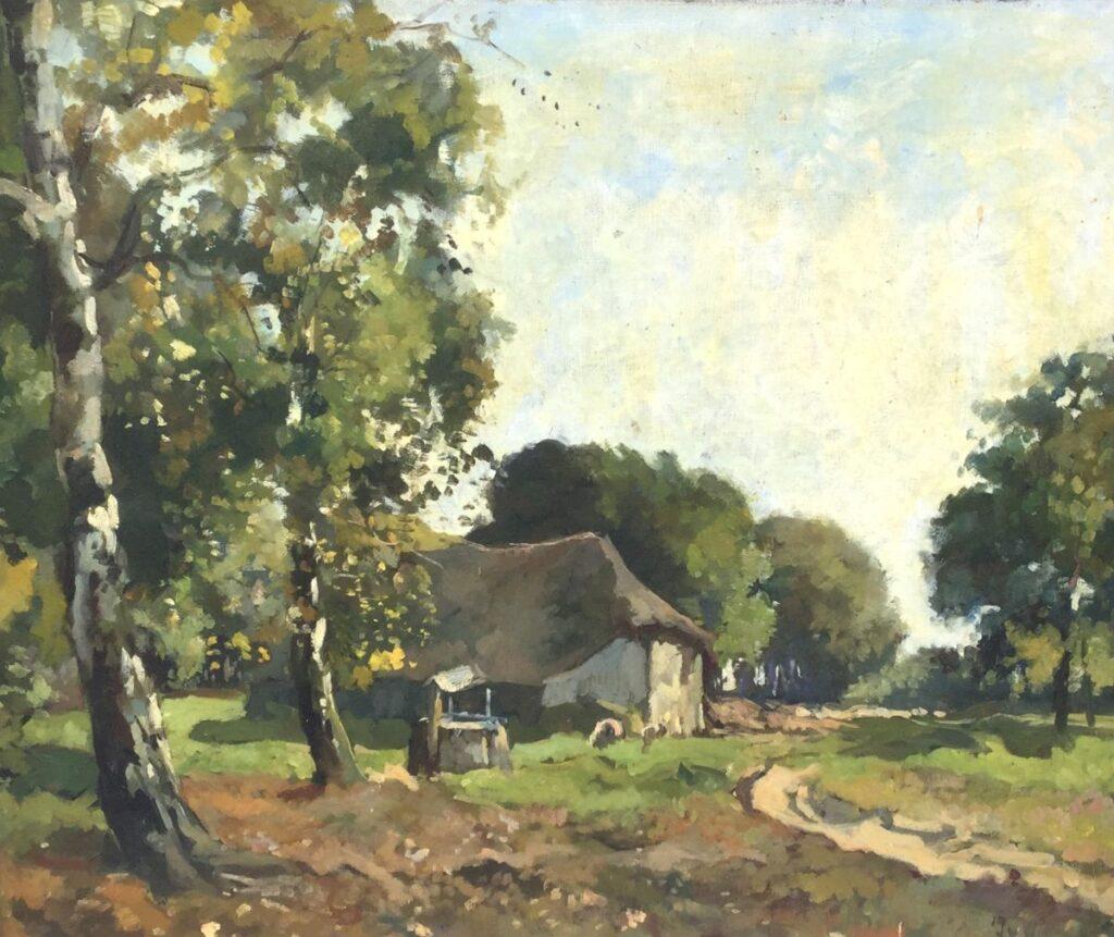 Kunstenaar Jan van Vuuren C2288, Jan van Vuuren Boerderij Olie op doek, beeldmaat: 50 x 60 cm Rechtsonder gesigneerd Verkocht