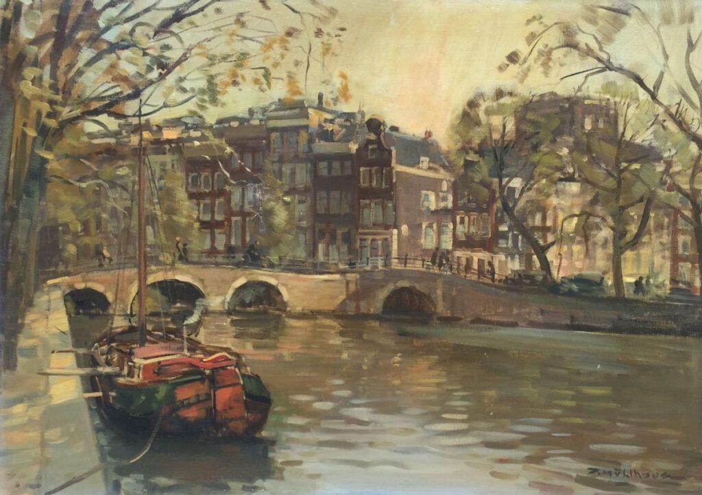 Kunstenaar Daniel Muhlhaus C2308 Daniël Mühlhaus Keizersgracht, Amsterdam Olie op doek, beeldmaat: 50 x 70 cm Rechtsonder gesigneerd verkocht
