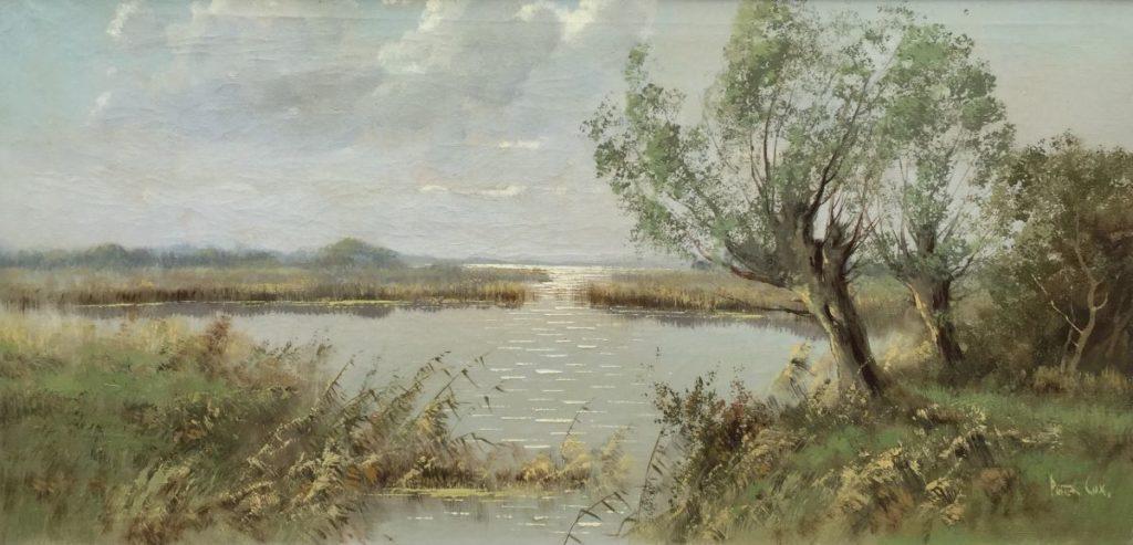 Kunst te koop bij Galerie Wijdemeren van kunstschilder Peter Cox Plasgezicht met knotwilgen olie op doek, 40 x 80 cm rechtsonder gesigneerd