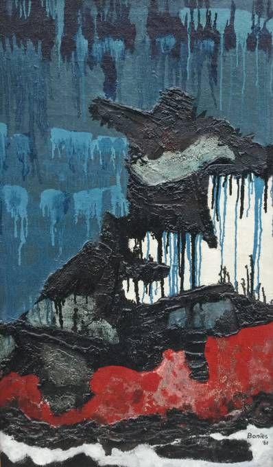 Kunstenaar Bob Bonies C2327, Bob Bonies Compositie Olieverf op doek, 101 x 60 cm r.o. gesigneerd en gedateerd 61 Verkocht