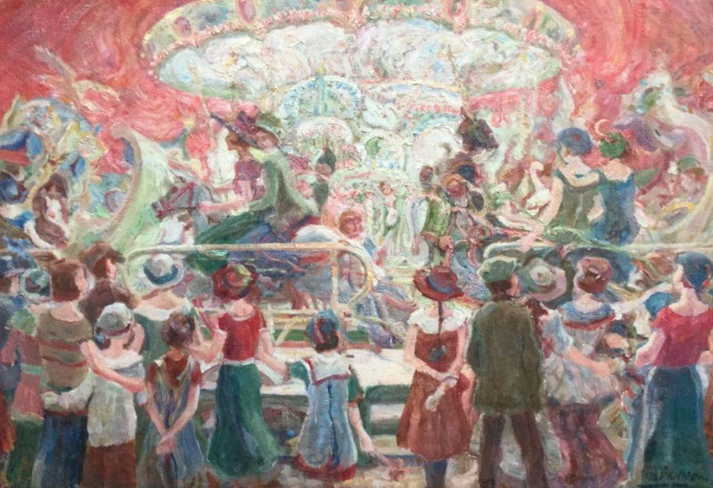 Kunstenaar Jan Bakhoven C2835 - C2328 Jan Bakhoven Carrousel olie op doek, 45 x 65 cm rechtsonder gesigneerd verkocht