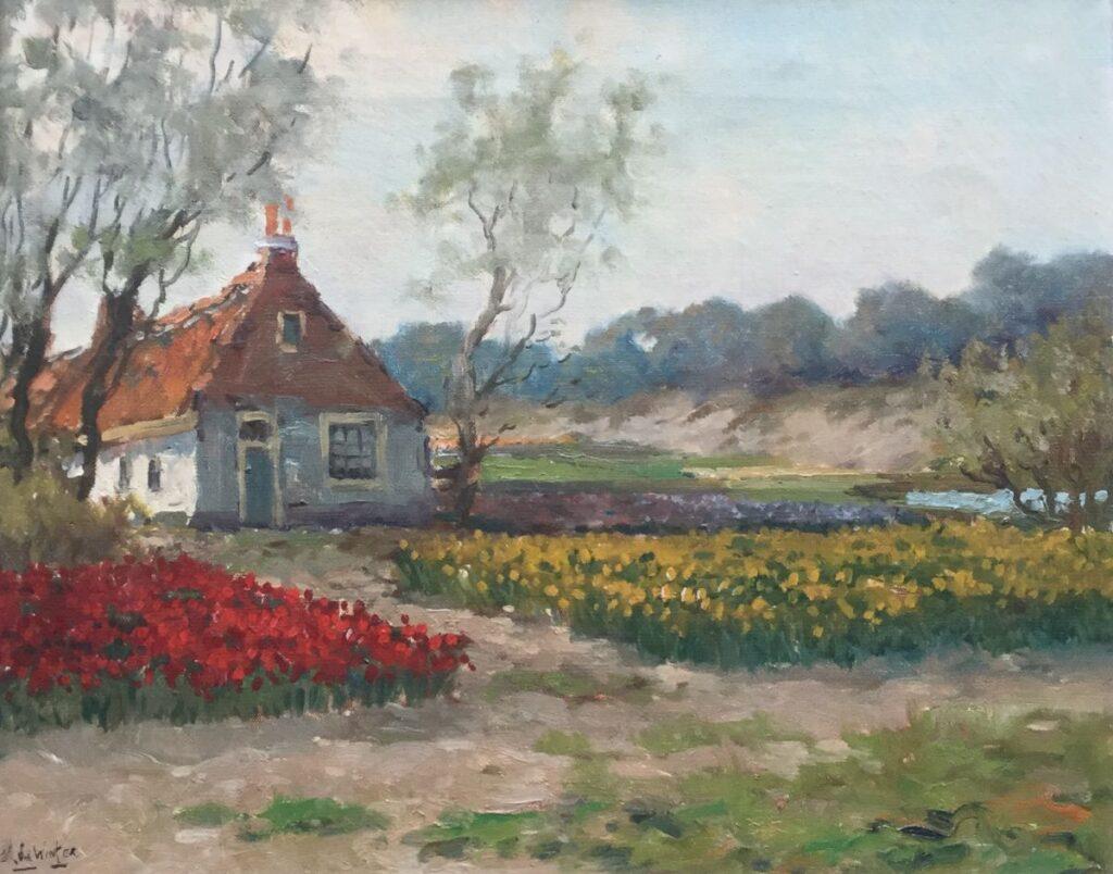 Kunstenaar Leo de Winter C2356, Leo de Winter, Bollenvelden olie op doek, 40 x 50 cm, l.o. gesigneerd verkocht