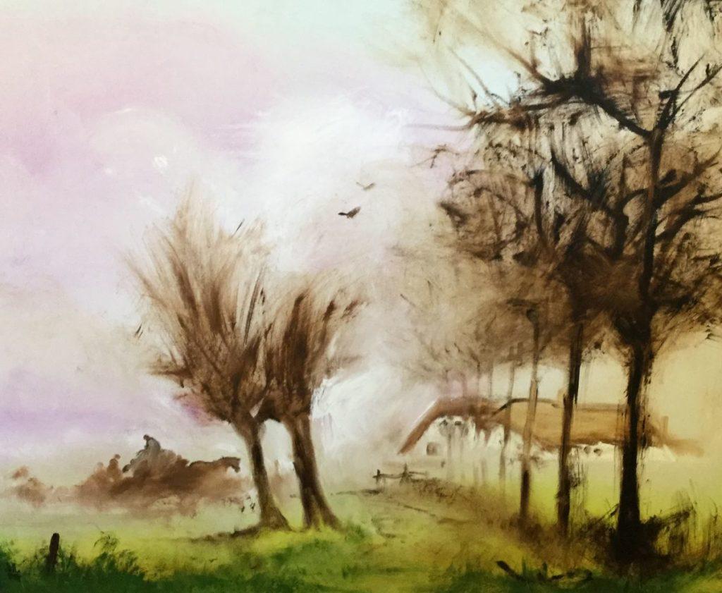 Kunst te koop bij Galerie Wijdemeren van kunstschilder Will Berg Landschap olie op doek, 81 x 100 cm linksonder gesigneerd
