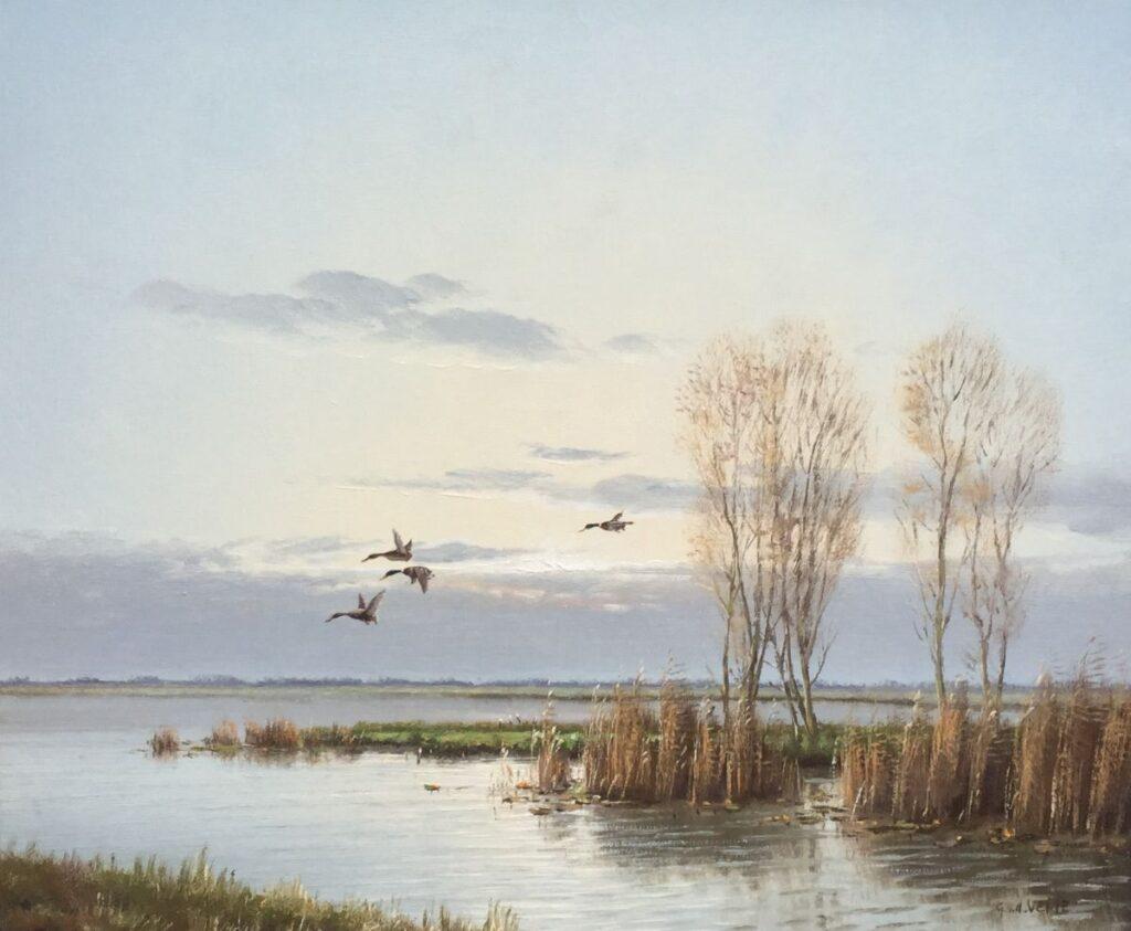Kunstenaar Gien van de Velde C2435, Gien van de Velde, Opvliegende eenden olie op doen, 50 x 60 cm, r.o. gesigneerd