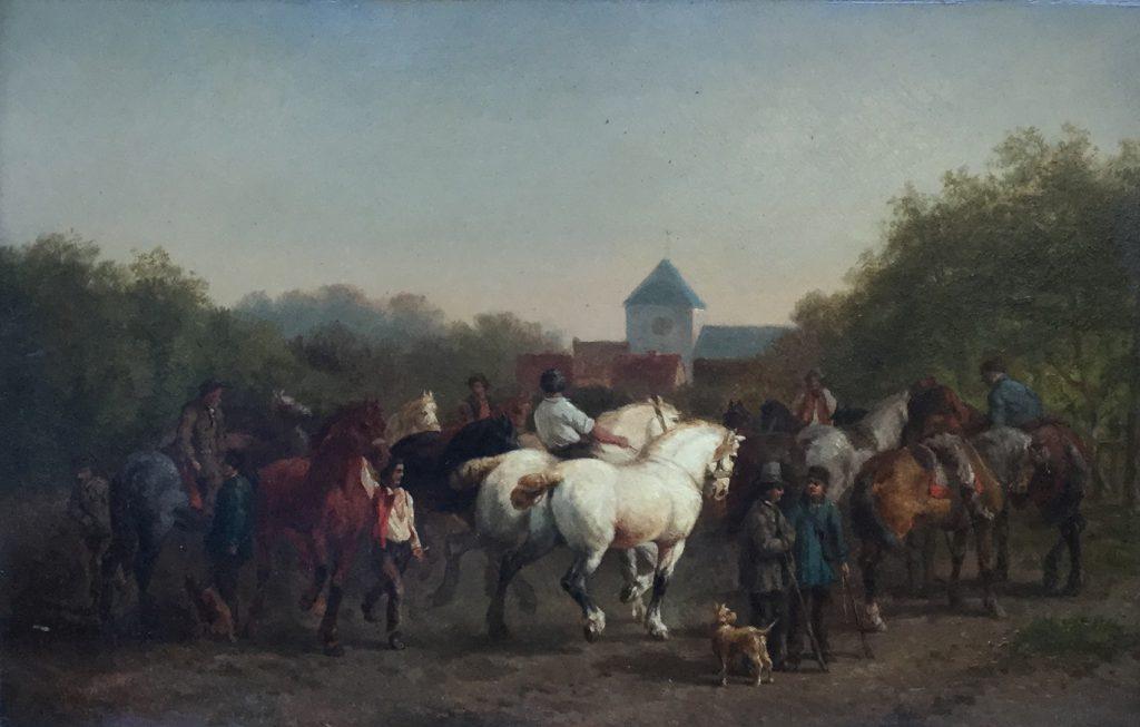Kunstenaar Cornelis Albertus Johannes Schermer C2438, C.A.J. Schermer Paardenmarkt Olie op paneel, beeldmaat: 26 x 40 cm Linksonder gesigneerd