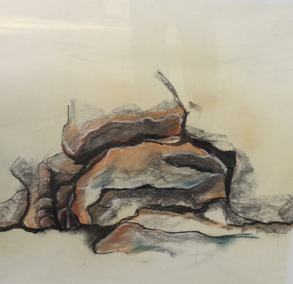 Schilderijen te koop van kunstschilder Willem Hesselink, C2470-1  rotspartij Normandië krijt op papier, Expositie Galerie Wijdemeren Breukeleveen