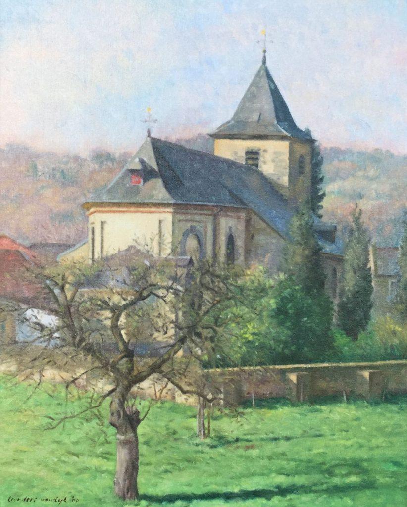Schilderijen te koop van kunstschilder, Leendert van Dijk, C2473 Kerkje Oud Valkenburg olieverf op doek, expositie Galerie Wijdemeren Breukeleveen