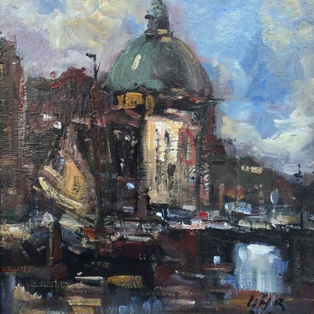 Schilderijen te koop, Amsterdam, Expositie Galerie Wijdemeren, Koepelkerk, C2475 Martouflé, 30 x 30 cm olieverf op doek op paneel, 30x30 gemonogrammeerd