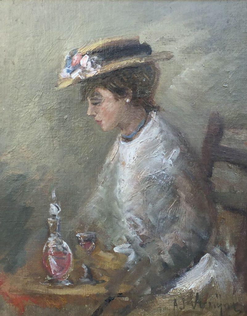 Schilderijen te koop, portretten, Expositie Galerie Wijdemeren Breukeleveen, C2476 Dame met glas wijn marouflé op karton gesigneerd A.J. Vermijne