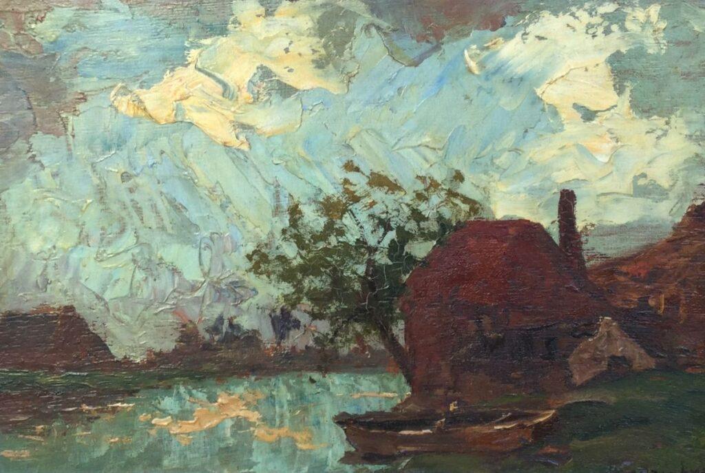 Schilderijen te koop, kunstschilder Charles Dankmeyer, C2477 Boerderij aan het water olie op paneel, 19 x 28 cm rechtsonder gesigneerd, Expositie Galerie Wijdemeren Breukeleveen