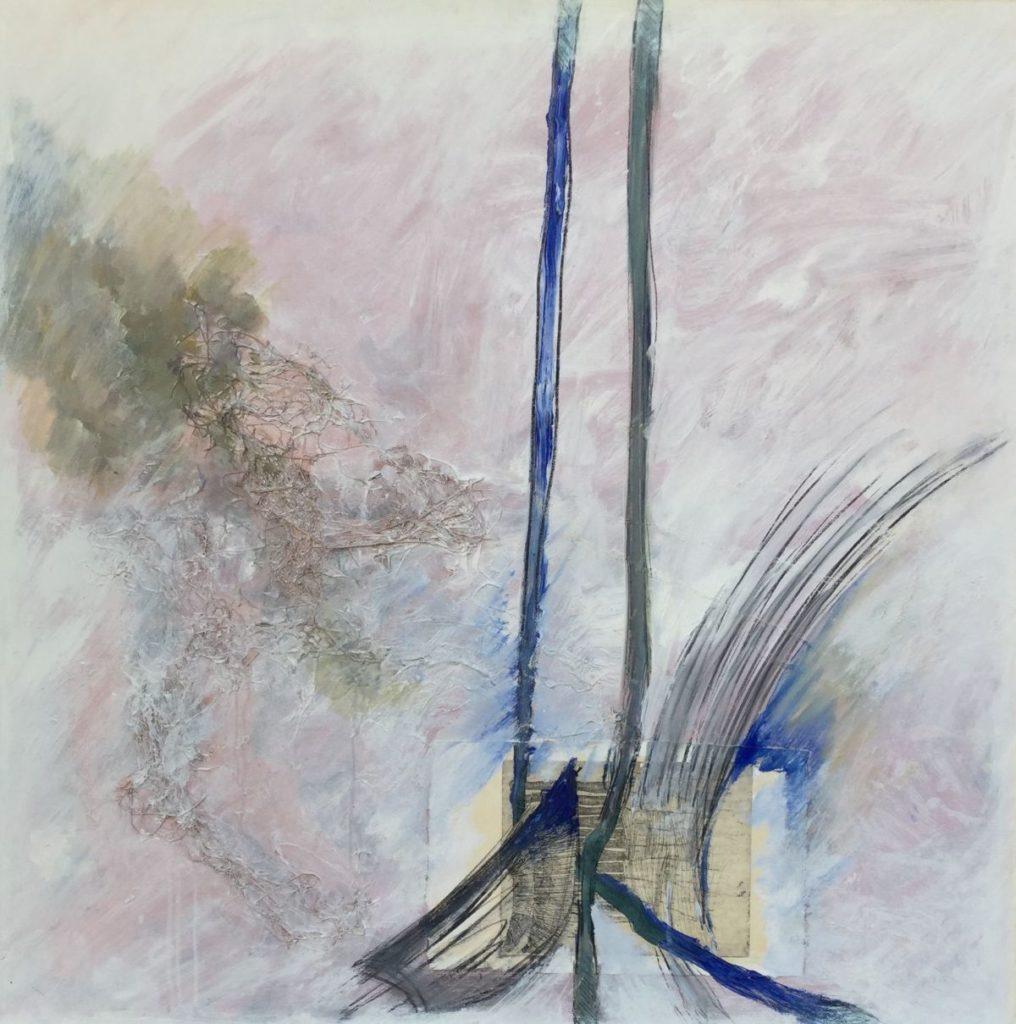 Kunstenaar Ton van den Hoogen C2479 Ton van der Hoogen Abstract gemengde techniek doekmaat, 90 x 90 cm